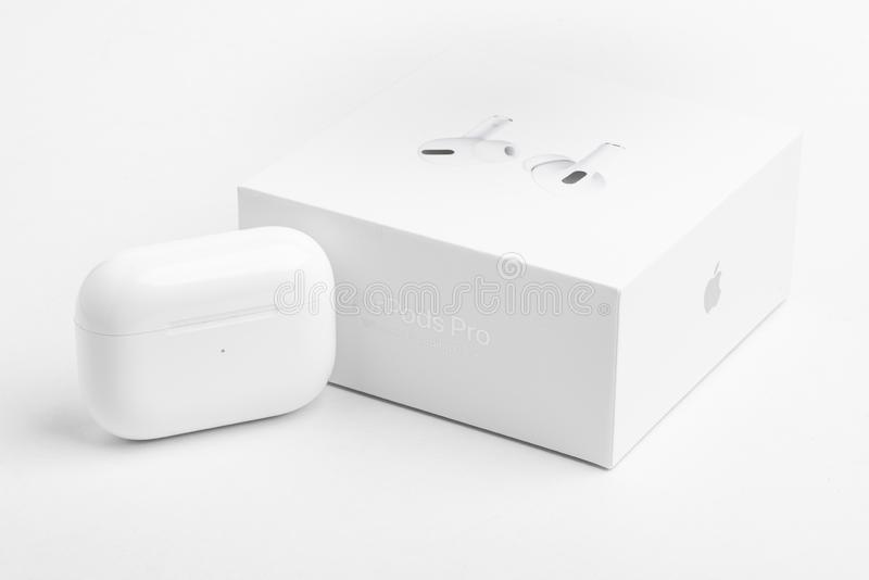 Packaging Box With Charging Case Of Apple Airpods Pro Editorial