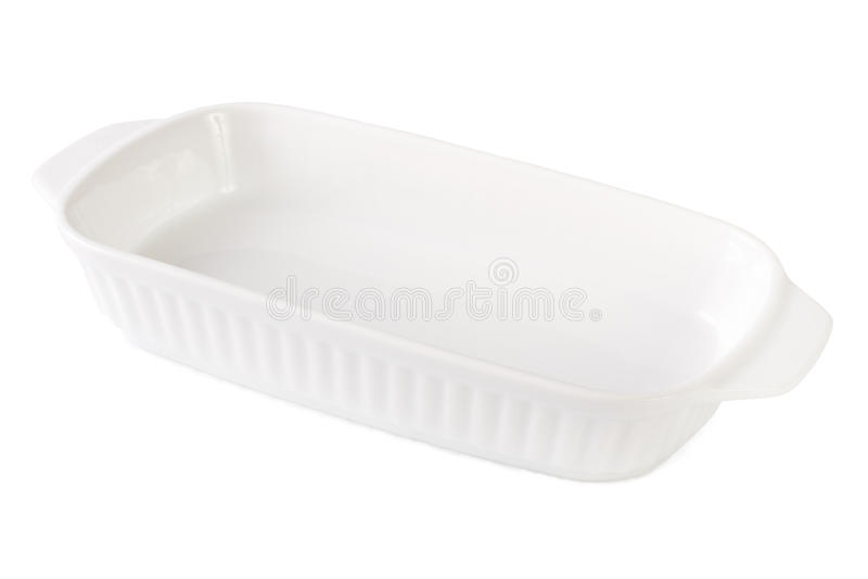 Vide blanc de plat de cuisson d'isolement sur le blanc Plan rapproché horizontal images stock