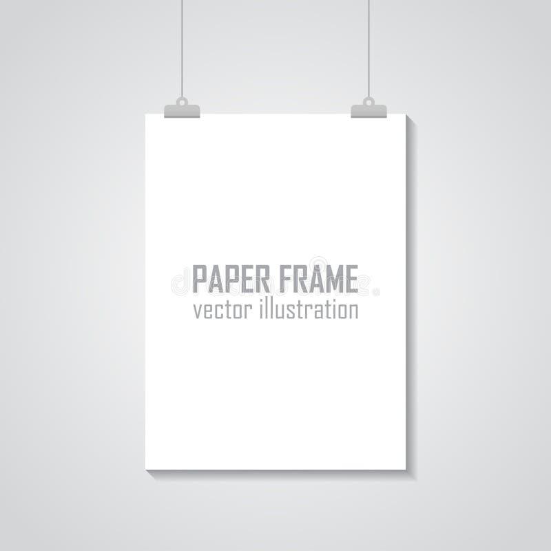 A4 vide a classé la maquette de papier de cadre de vecteur accrochant avec le trombone - vecteur courant illustration stock