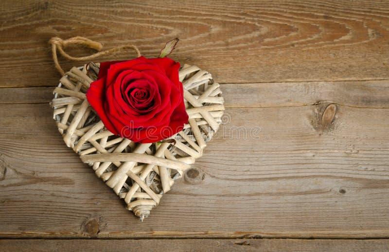 Vide- hjärta som är handgjord med knoppen av den röda rosen som ligger från vänster sida royaltyfri fotografi