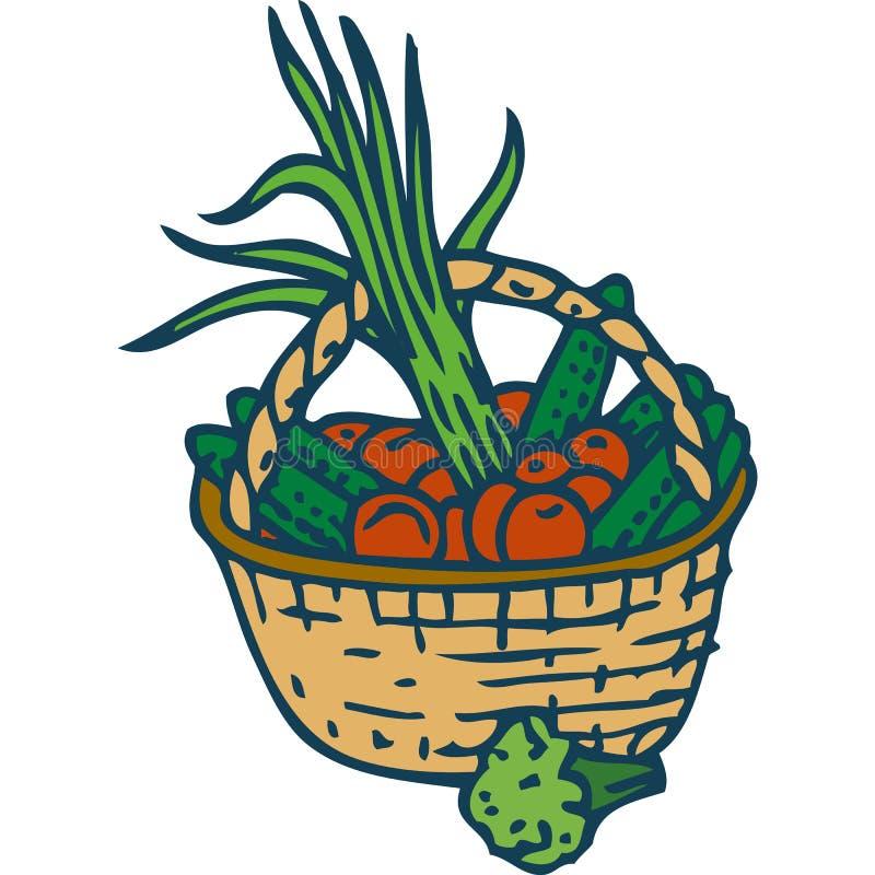 Vide- korg med grönsaker vektor illustrationer