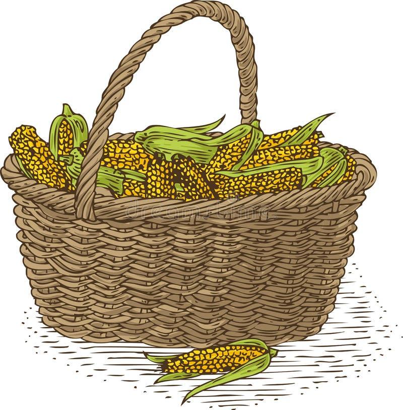 Vide- korg med mogen gul havre royaltyfri illustrationer