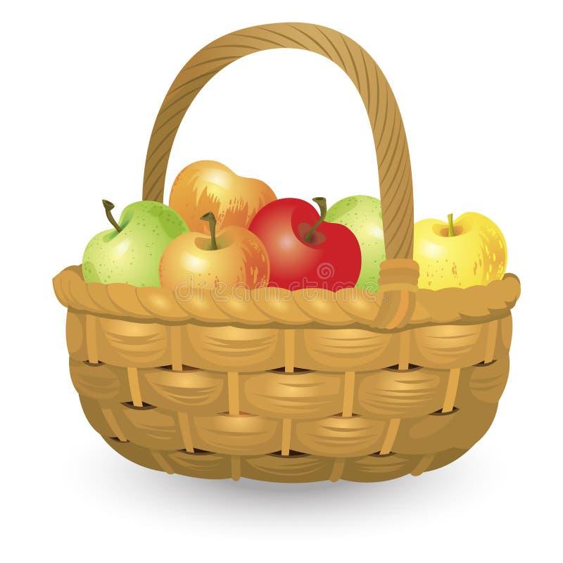 Vide- korg mycket av äpplen som isoleras på vit bakgrund också vektor för coreldrawillustration vektor illustrationer