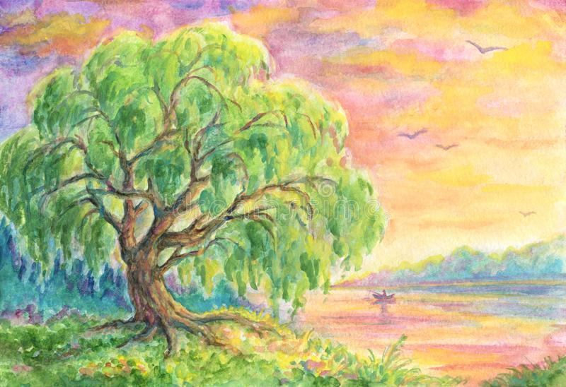 Vide nära vatten - landskapmålning stock illustrationer