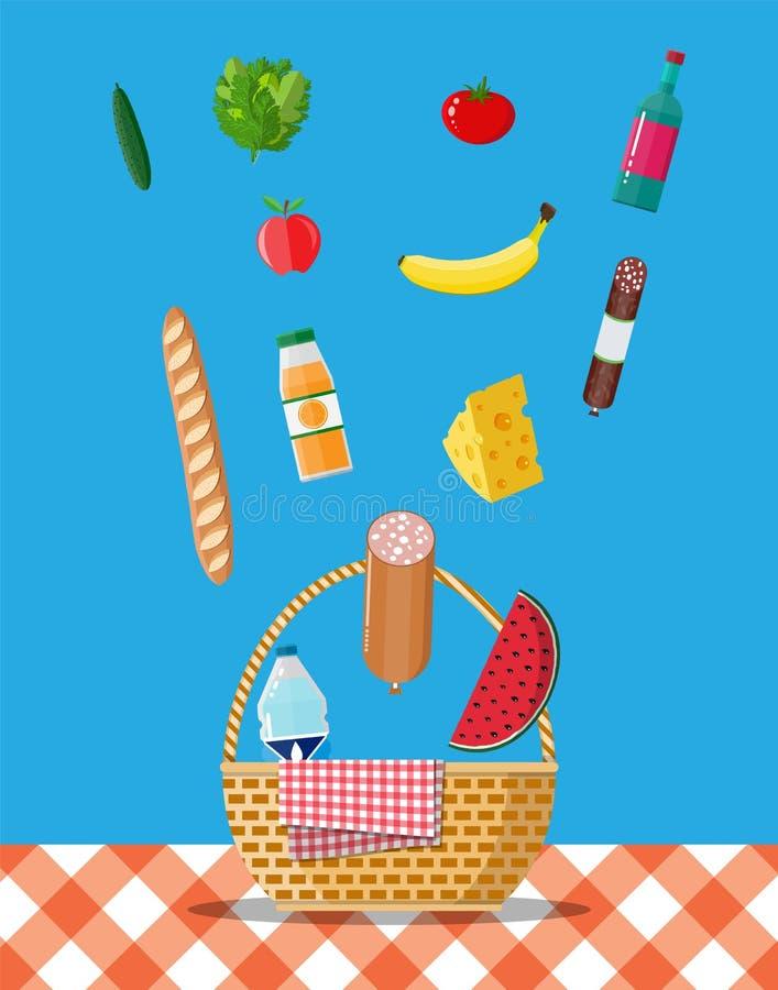 Vide- picknickkorg mycket av produkter royaltyfri illustrationer