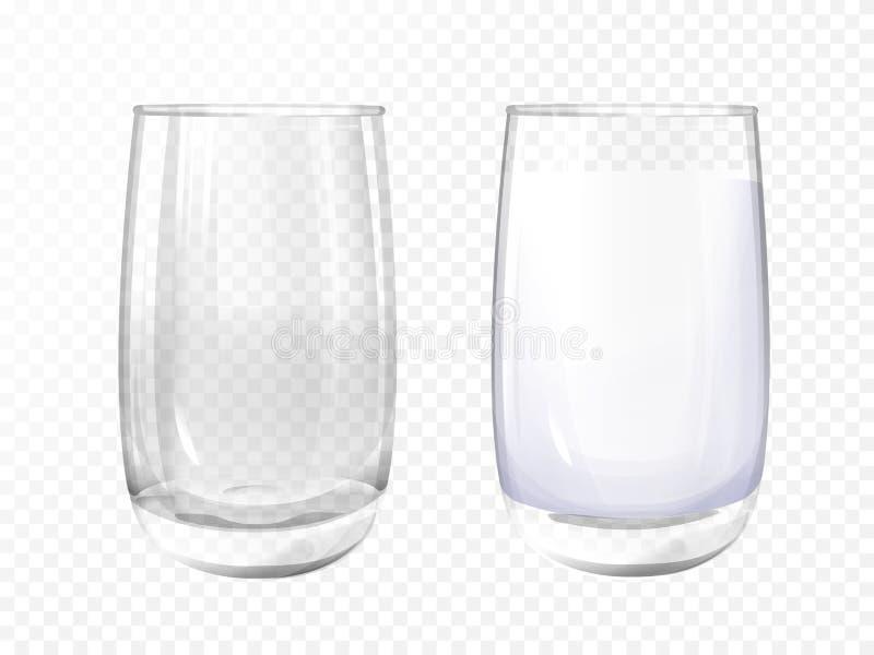 Vide réaliste de Vectpr, ensemble de tasse en verre de lait illustration stock