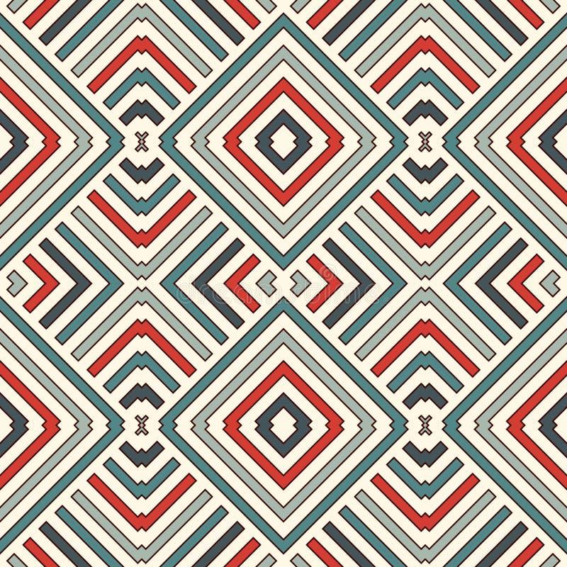 Vide- sömlös modell med den geometriska prydnaden Bakgrund för pastellfärgade färger med överlappande band Motiv för fiskskala stock illustrationer