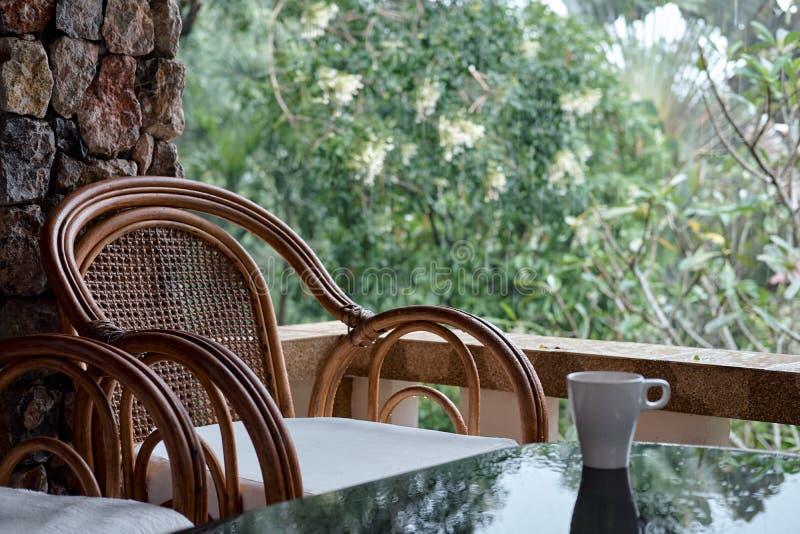 Vide- stol på balkong, koppen kaffe och boken royaltyfri fotografi