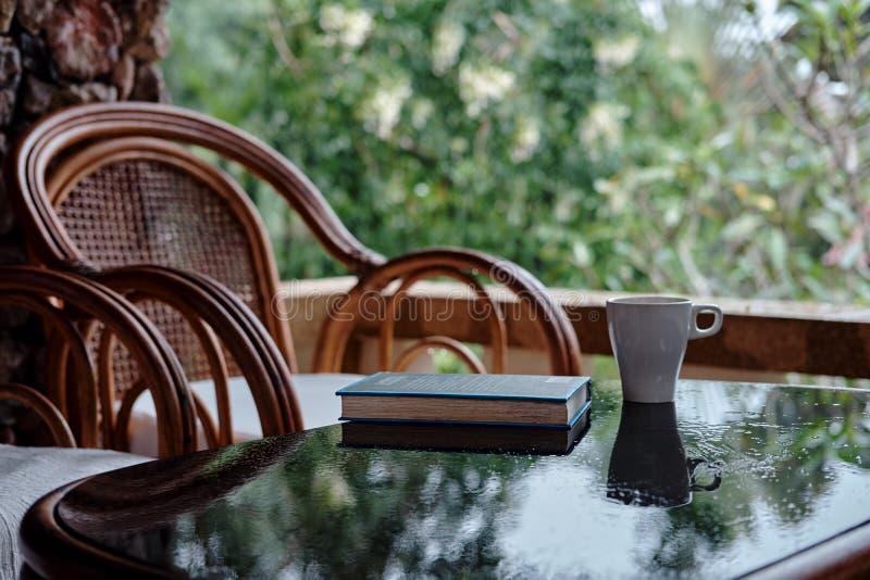 Vide- stol på balkong, koppen kaffe och boken arkivbild
