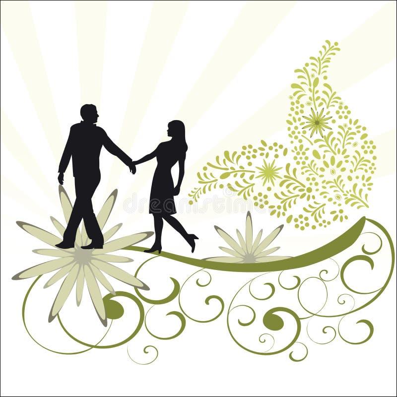 Videira da folha e pares românticos ilustração stock