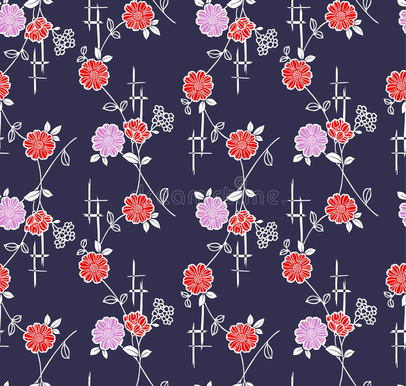 Videira floral japonesa Art Seamless Pattern ilustração stock