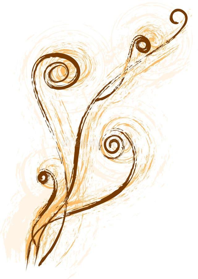 Videira ou fern marrom ilustrado ilustração stock