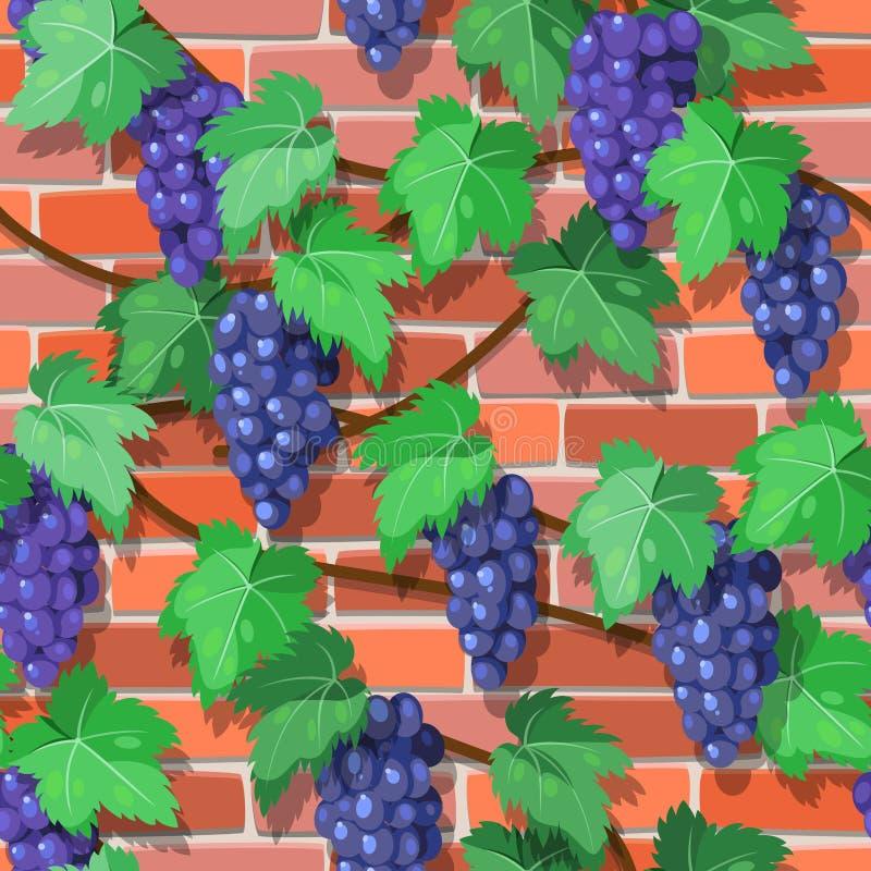 Videira sem emenda na parede de tijolo ilustração royalty free
