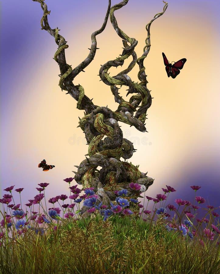 Videiras feericamente que crescem o monte da planta ilustração stock