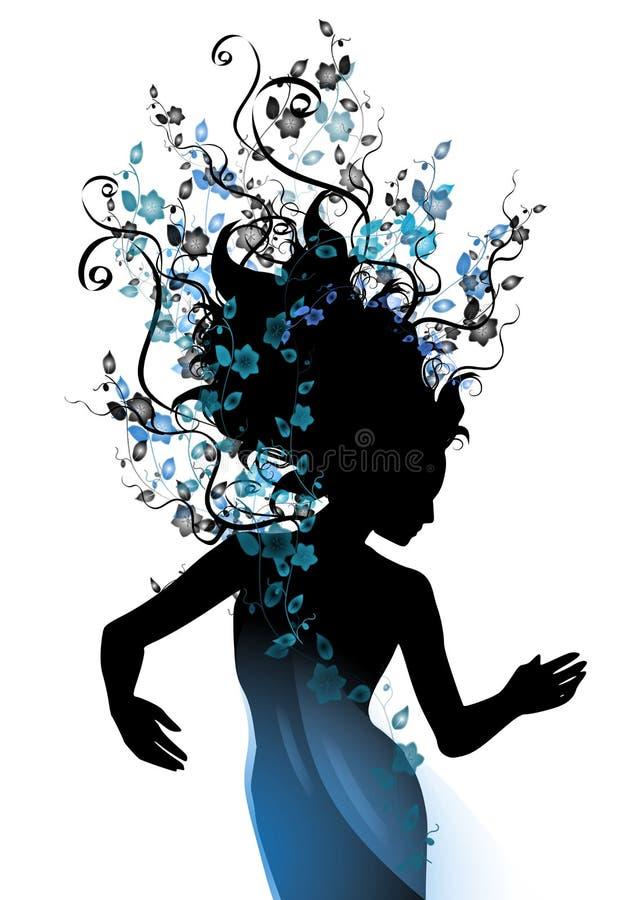Videiras naturais longas do cabelo azuis ilustração do vetor