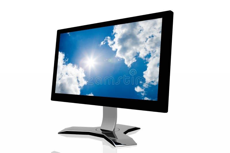 monitor 3d con il fondo del cielo fotografie stock