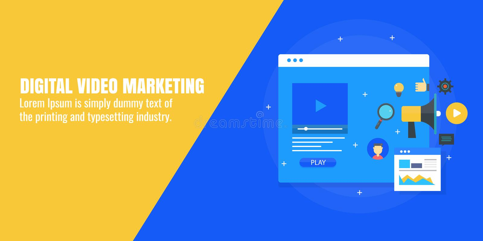 Digital video marketing, service and product promotion via video advertising. Flat design vector banner. Video ad displaying on a website, influencing users to stock illustration