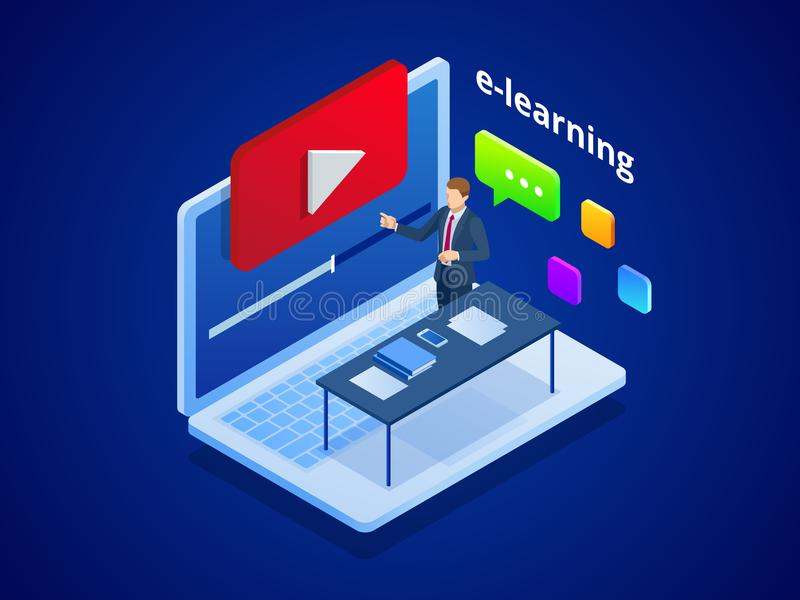 Video addestramento o esercitazione online isometrico E-learning dall'addestramento webinar Istruzione online al video concetto d royalty illustrazione gratis