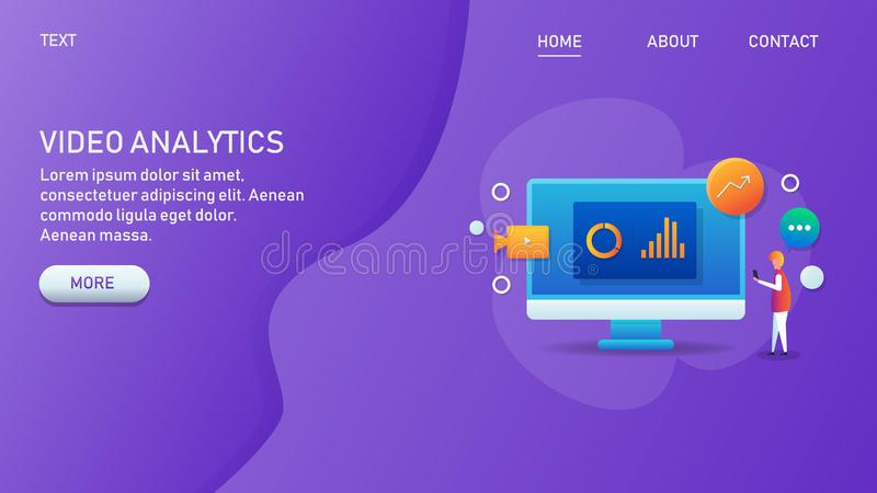 Video analytics, marketing data analysis, digital media content engagement rate, video application, web banner concept. Modern concept of video analytics royalty free illustration