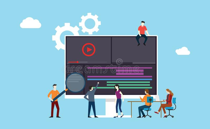 video animation or movie production team working together on the office using software development royalty free illustration