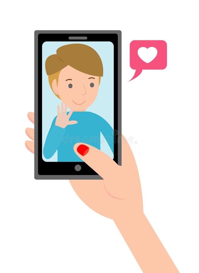 Video appell med älskad Hållande smartphone för kvinnlig hand med pojkvännen på skärmen Två Mouses förbinds den röda förälskelseh vektor illustrationer