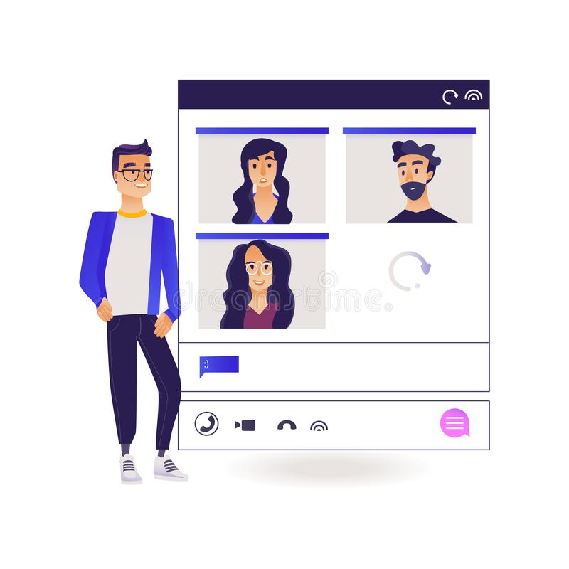 Video appellpratstundkonferens med mannen som använder apparatskärmen för att samtala med grupp människor vektor illustrationer