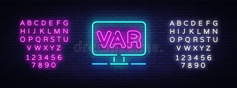Video Assistant Referee neon sign vector. Soccer, football VAR System on the TV screen Design template neon sign, light. Banner, neon signboard, light vector illustration
