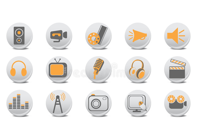 Video and audio buttons vector illustration
