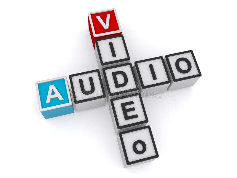 Video audio crossword. On white background royalty free illustration