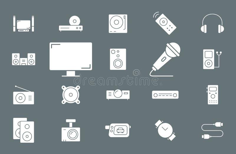 Video-audio Materiaalpictogrammen - Vastgesteld Web en Mobile 02 vector illustratie