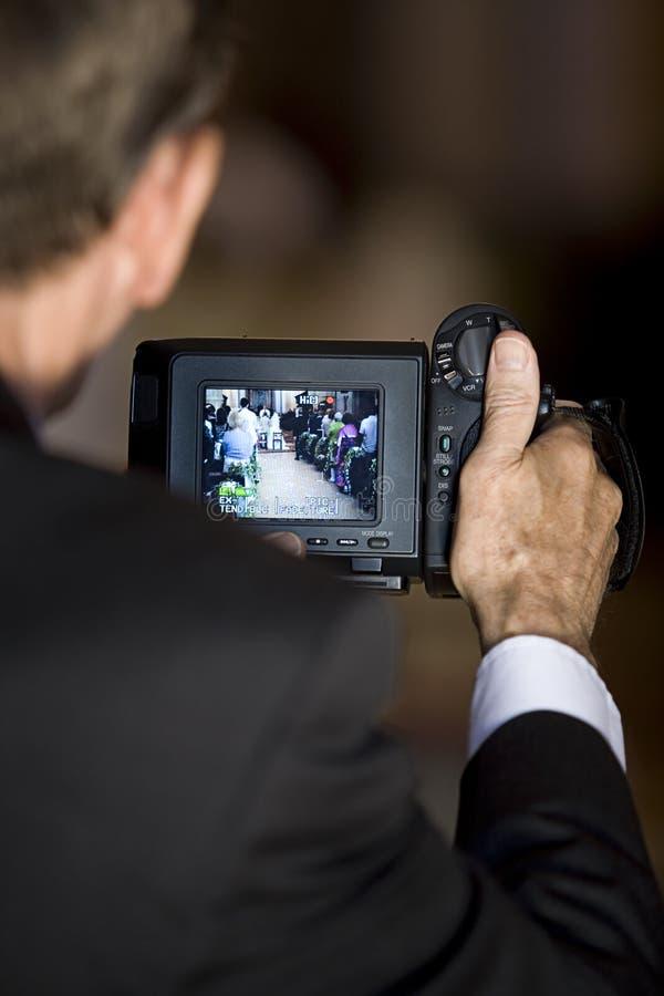 Video bij huwelijk royalty-vrije stock afbeelding