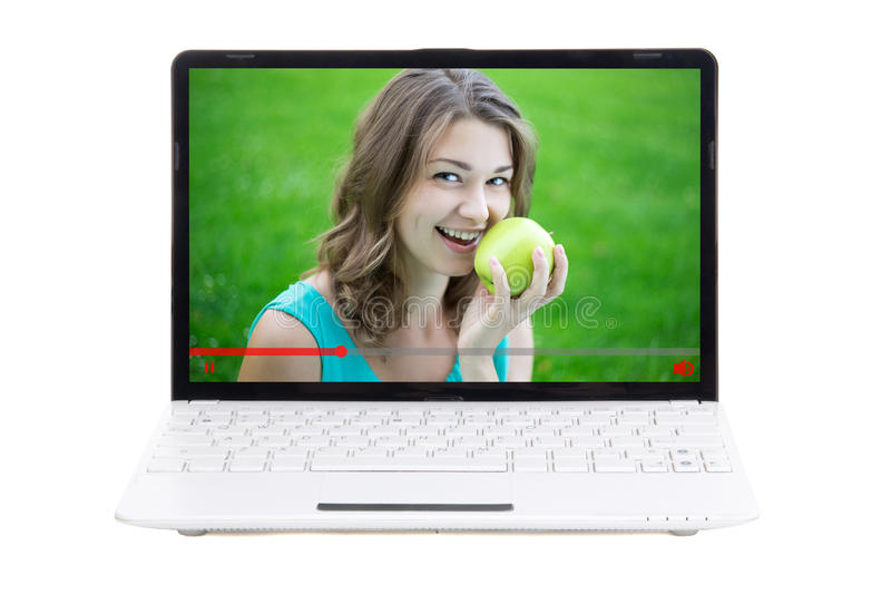 Video blog concept - woman talking about healthy food royalty free stock photo