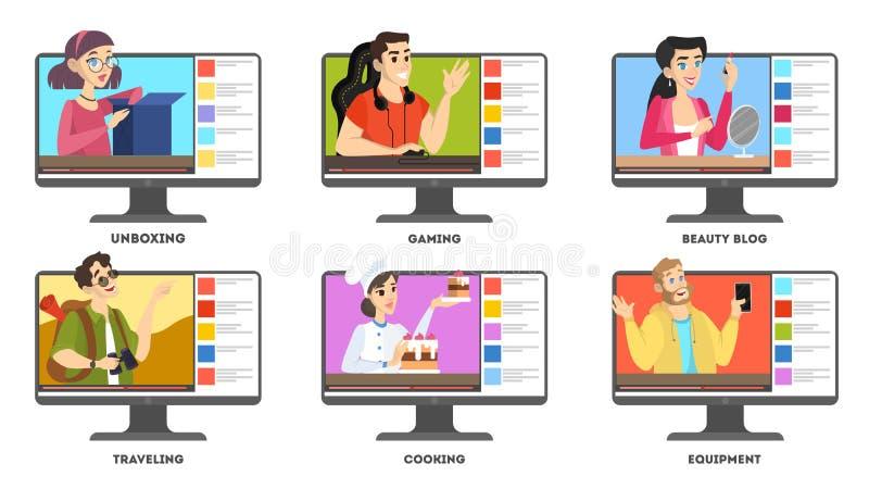 Video blogger set. Internet celebrity in social network. Popular gamer streaming. Isolated vector illustration in cartoon style vector illustration