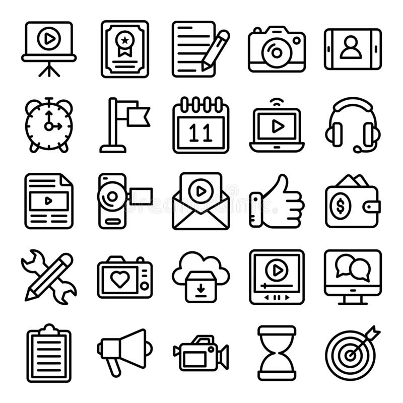 Video Blogging and Copywriting Line Icons Pack royalty free illustration