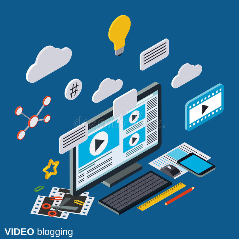 Video blogging flat 3d isometric vector concept royalty free illustration