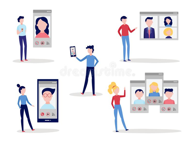 Video call chat conference set with men and women using smartphone and computer to speak with other people. Video call chat conference set with men and women vector illustration