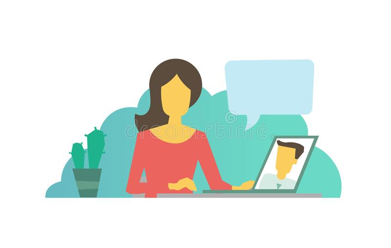 Dating site. Video chat call. Conversation with a loved one. Video call chat. Dating site. Conversation with a loved one. Virtual interlocutor vector flat vector illustration