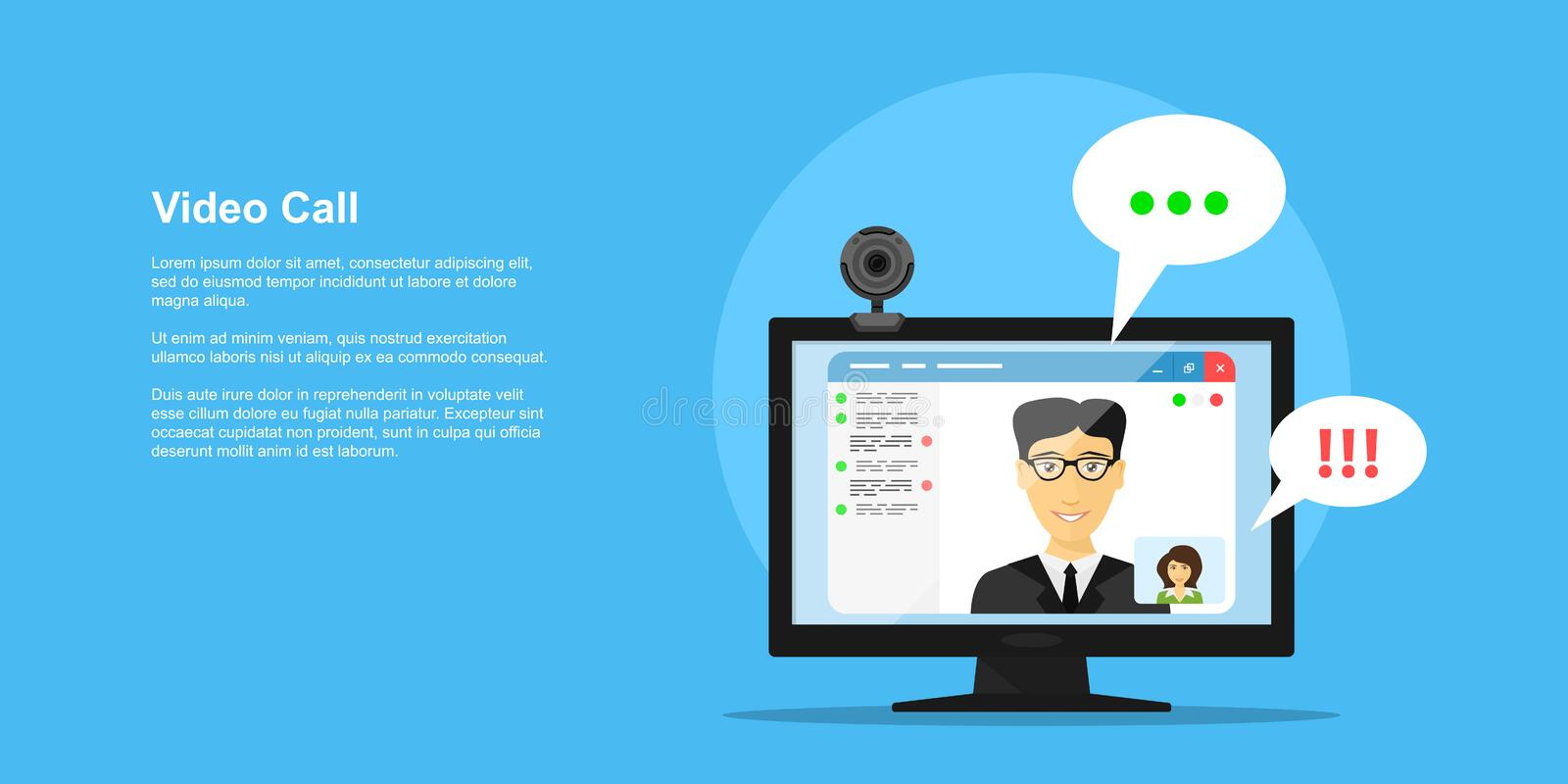 Video call concept. Picture of computer monitor with online conference application interface, web camera and people avatars, flat style concept banner, video stock illustration
