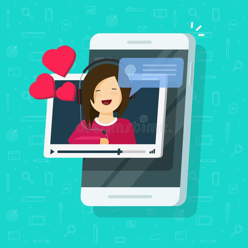 Video call with girlfriend on mobile phone vector illustration, flat smartphone video chat with lovely happy smiling. Video call with girlfriend on mobile phone stock illustration