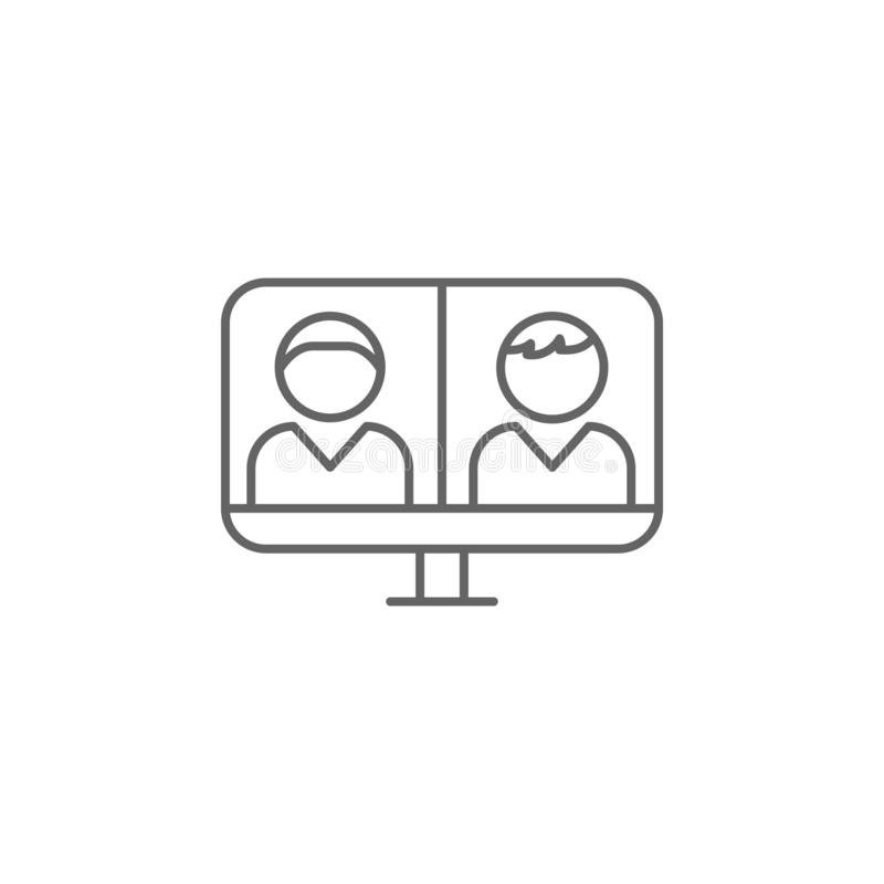 video call laptop friendship outline icon. Elements of friendship line icon. Signs, symbols and vectors can be used for web, logo vector illustration