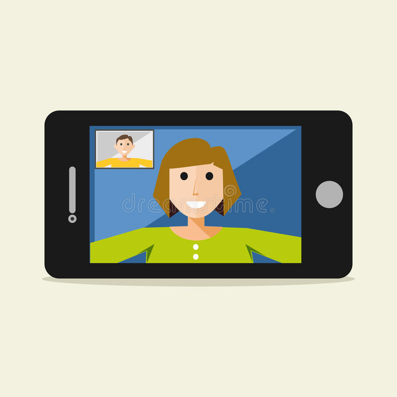 Video call on mobile phone. Video call concept. vector illustration