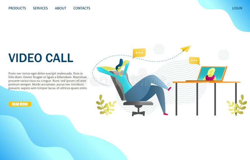 Video call vector website landing page design template. Video call vector website template, web page and landing page design for website and mobile site royalty free illustration