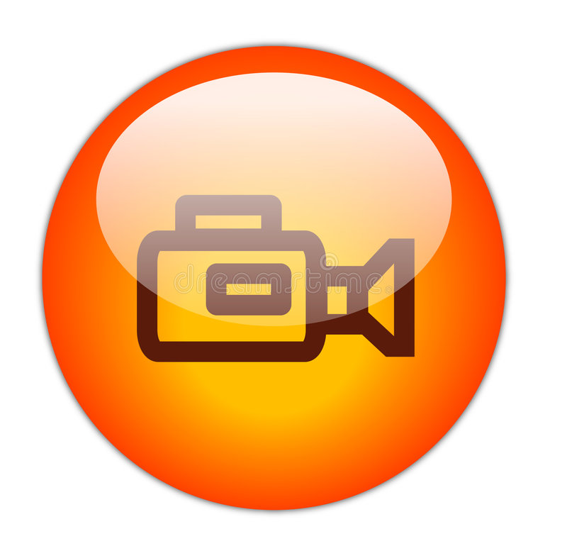 Video Camera. The Glassy Red Video Camera Icon Button