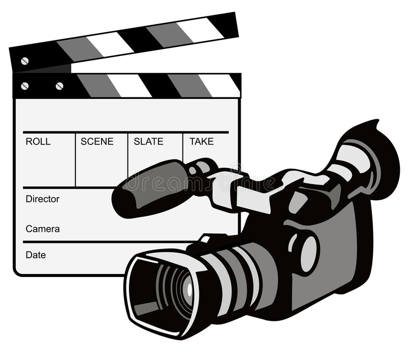 Video camera with clapper royalty free illustration