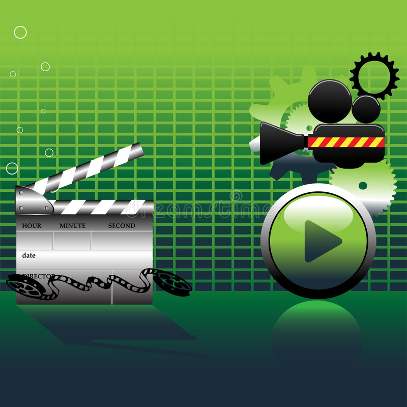 Video camera and clapper board. Abstract colorful background with video camera, clapper board, play button and film reel vector illustration