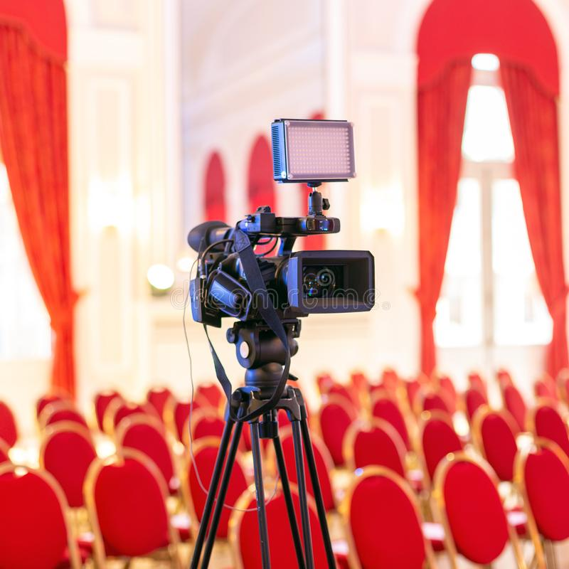 Video camera in conference room royalty free stock photo