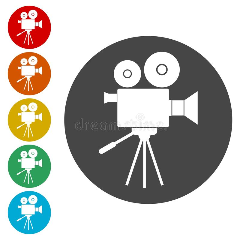 Video camera, Film Camera Icons set. Vector icon stock illustration