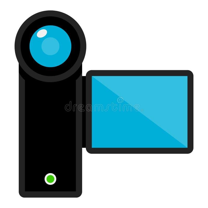 Video Camera Flat Icon Isolated on White. Black video camera flat icon with blue screen, isolated on white background. Eps file available royalty free illustration