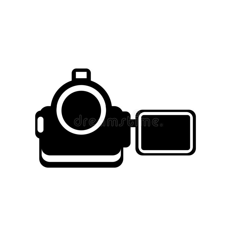 Video camera from frontal view icon vector sign and symbol isola royalty free illustration