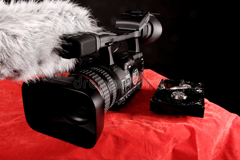 Video camera and a hard disk stock images